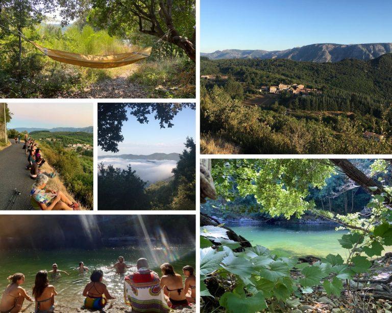 chemins alternatifs, marche, méditation, chant, rachel ratsizafy, espace de la source, vieussan, occitane, hérault, parc du haut languedoc, yatra